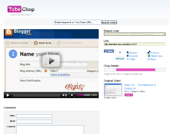 a screenshot of tubechop